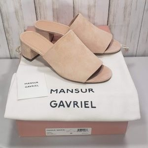 Mansur Gavriel Suede Pink Mule Sandals 36 NWB